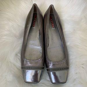 Prada Silver Square Toe Ballet Flats Size 7.5